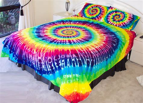 tie dye bedroom hand dyed rainbow tie dye duvet cover and pillow case