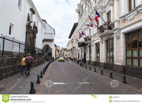 streets  quito central ecuador editorial image image