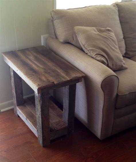 sofa with wood sides barn wood end table i built from an old barn in my field