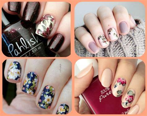 nail fiori nail floreali con colori autunnali tu style