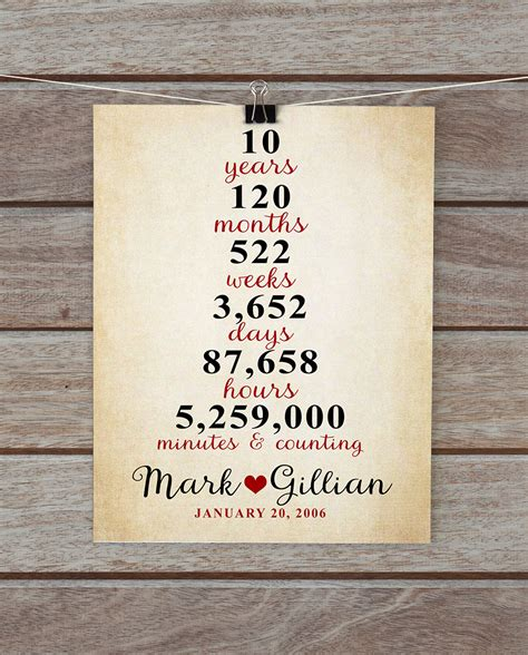 10 Year Wedding Anniversary Song by 10 Year Anniversary Gifts Anniversary Gift For Him