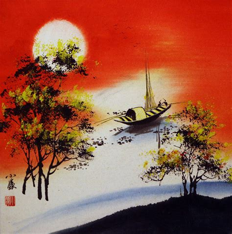 asian artwork resting birds 1 colorful asian landscape painting