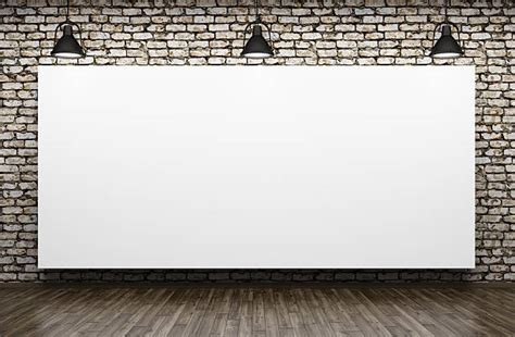 white wall with board and lights stock photo royalty free whiteboard lighting equipment brick wall