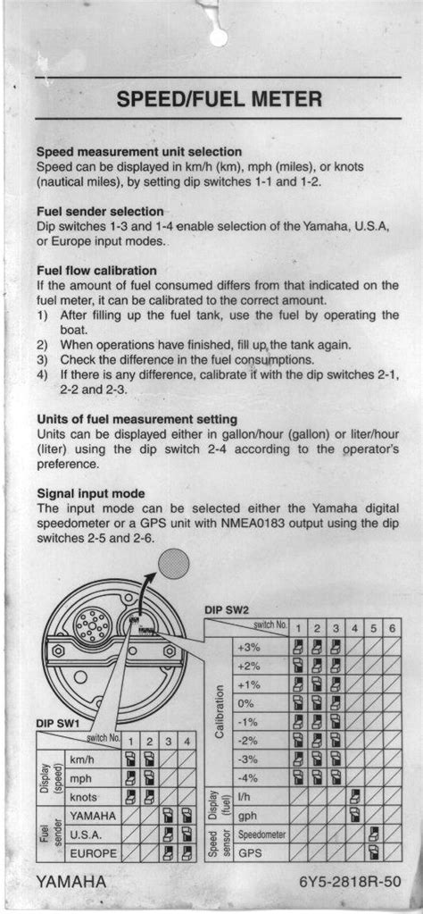 Need help setting dip switch for Yamaha fuel managemt