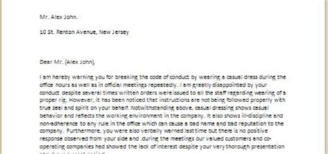 warning letter unprofessional behavior writelettercom