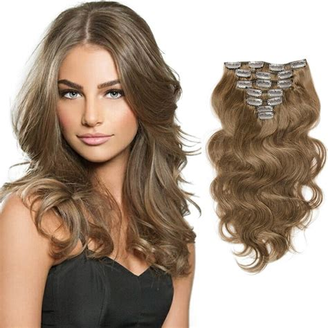 Wavy Extension Hair light brown wavy clip in hair extensions