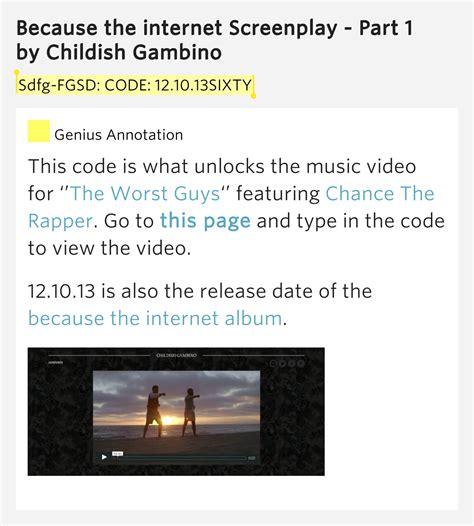 because the screenplay sdfg fgsd code 12 10 13sixty childish gambino