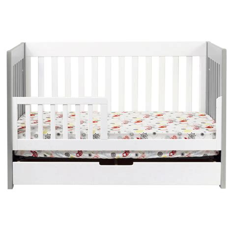 grey and white mercer convertible crib by babyletto