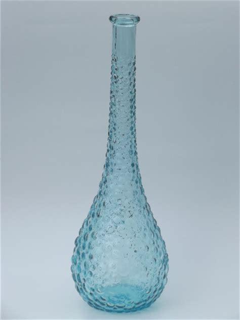 Glass Bubble Vase Blue Bubbles Retro 60s Italian Art Glass Decanter Bottle
