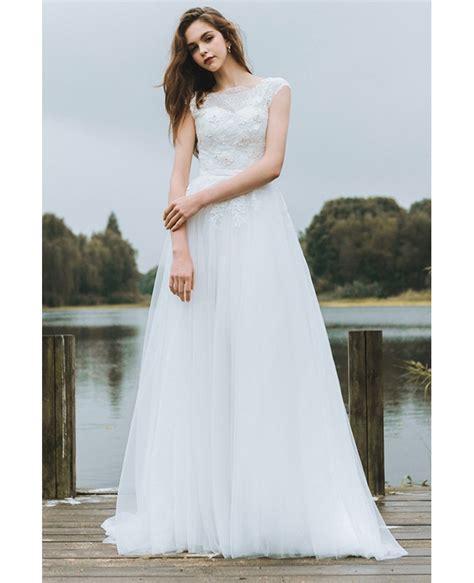 simple lace   boho beach wedding dress long tulle