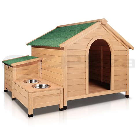 house dog kennels extra large pet dog timber house wooden kennel wood cabin log storage box bowls ebay
