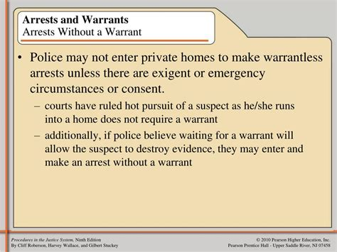 Searches With A Warrant Ppt Chapter Three Arrest And Custody Powerpoint Presentation Id 614222
