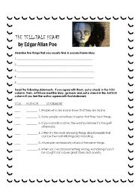 Tell Tale Worksheet by Worksheets The Tell Tale By Edgar Allan Poe