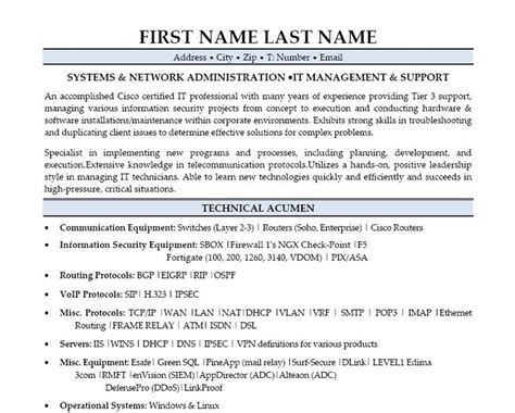 system administrator resume format for fresher inspirational systems