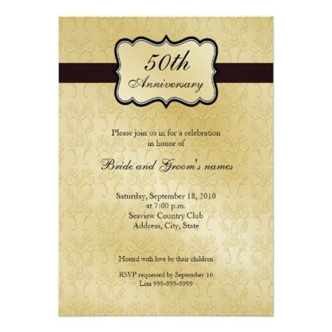 50th wedding anniversary card templates 25 best ideas about 50th anniversary invitations on