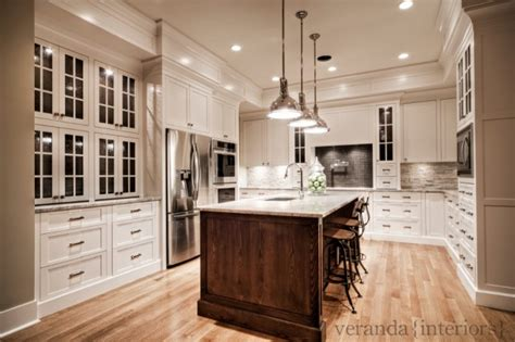 Dove White Kitchen Cabinets with River White Granite Countertops Transitional Kitchen Benjamin White Dove Veranda