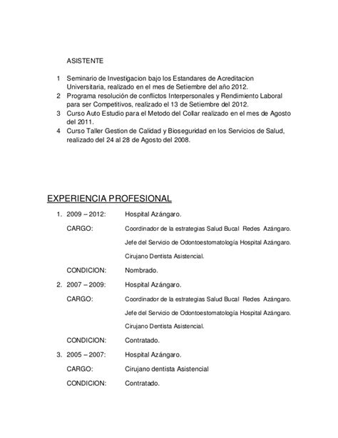 Modelo Curriculum Vitae Higienista Dental curriculum vitae