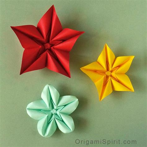 Make Origami Flowers - how to make an origami flower and variations