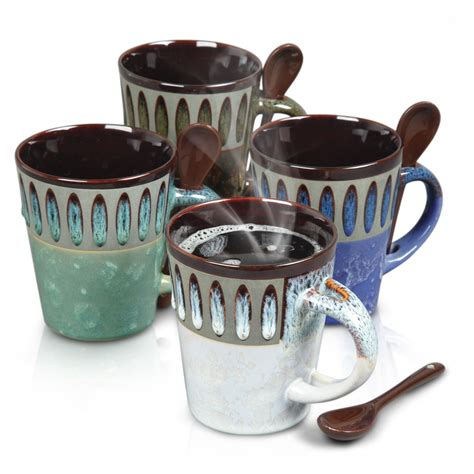 Coffee Set mr coffee delmar coffee mug spoon set 4 assorted colors