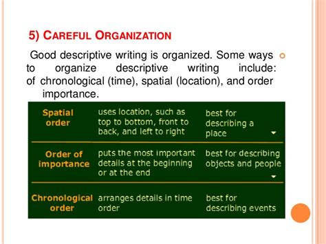 for which thesis would chronological organization work best spatial order descriptive essay stonewall services