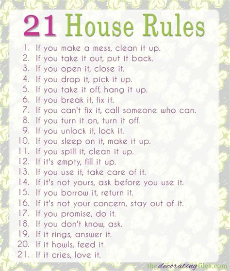 printable house rules poem family house rules these rules are simple
