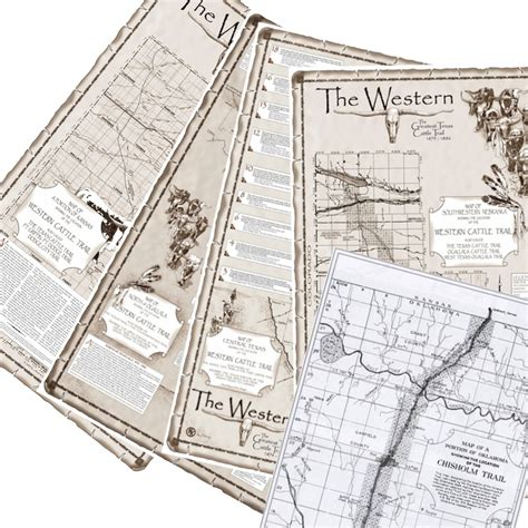 western cattle trail state maps set 5 maps western