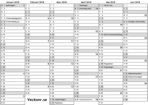 kalender f 246 r 2018 med helgdagar och veckonummer