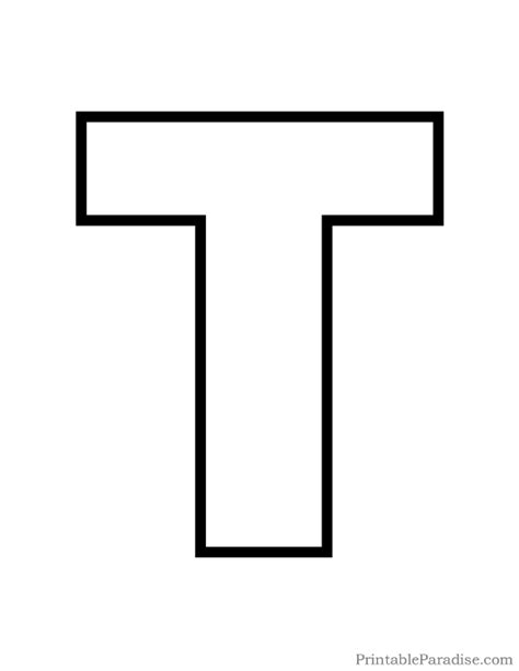 letter t template printable letter t outline print letter t