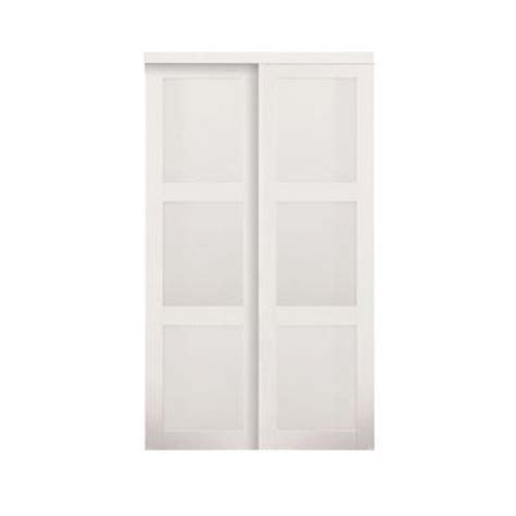 Glass Closet Doors Home Depot Truporte Grand 48 In X 80 In 2030 Series 3 Lite Tempered Frosted Glass White Composite