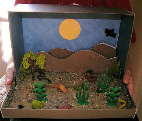 How To Make A Paper Diorama - shoe box diorama made with some sand found at hobby