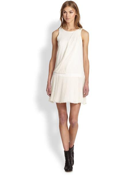 Dress Vannesa lyst rag bone stretch silk draped pleatedskirt dress in white