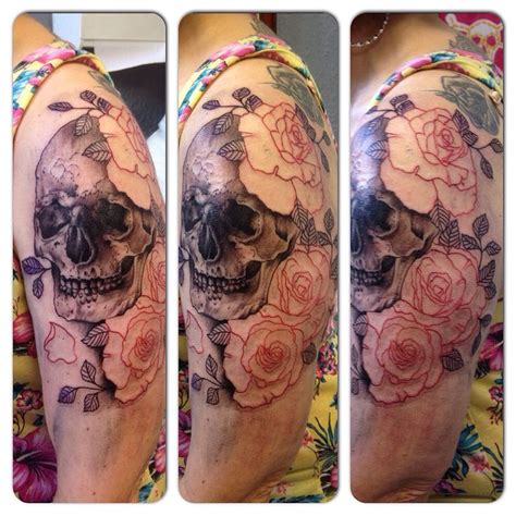 skull and roses shoulder tattoo 1st session by susy at