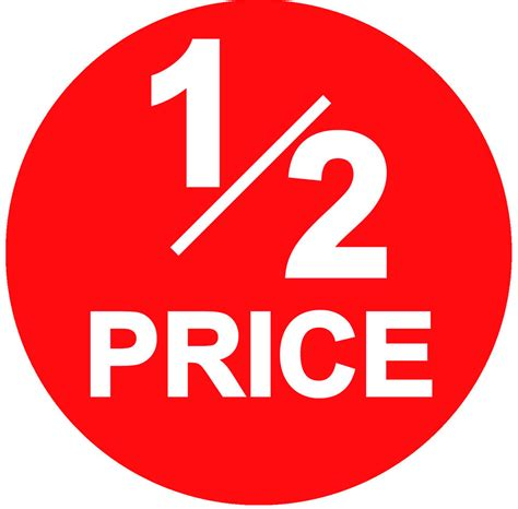 one price 45mm bright 1 2 half price point sale stickers