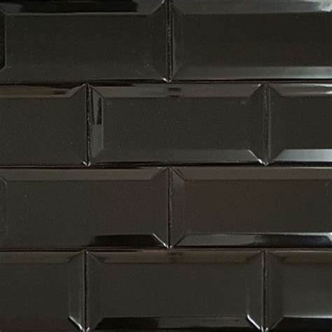 Mosaic Tiles Kitchen Backsplash spanish black gloss bevelled subway tile ceramic