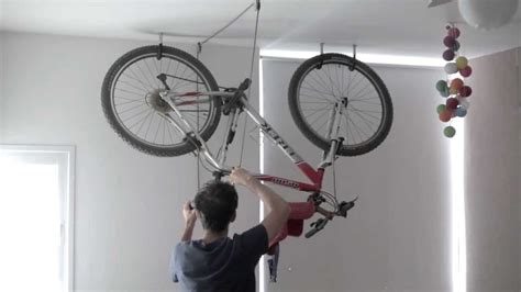How To Hang Bicycles From The Ceiling by Bike Rack One Minute Storage