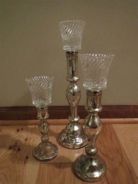 Silver Glass Candle Holders Silver Mercury Glass Candle Holders 2 15 14