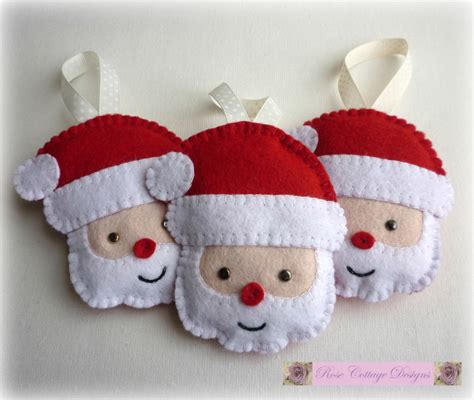 Handmade Felt Ornaments - 3 felt santa handmade ornaments by rosecottagedesignss on etsy