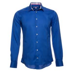 s fitted blue shirt