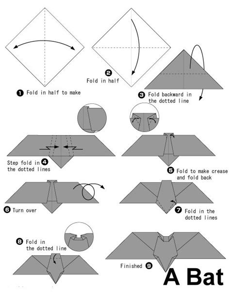 Easy Bat Origami - origami and bats on