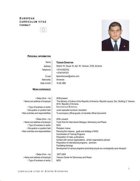 exle of curriculum vitae with picture resume vitae sle resume cv cover letter