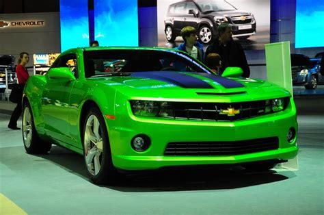 neon green camaro lime green camero with black racing strips cars