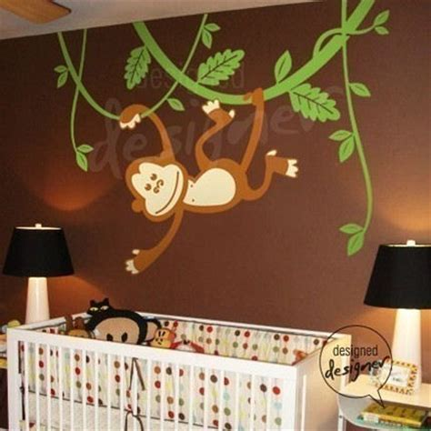Monkey Nursery Wall Decor Monkey Swinging On Vines Wall Sticker Mural