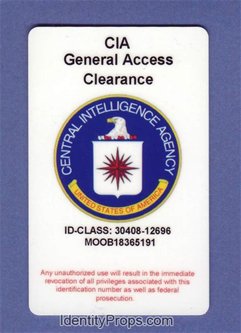 cia id card template maker cia central intelligence agency general access clearance i