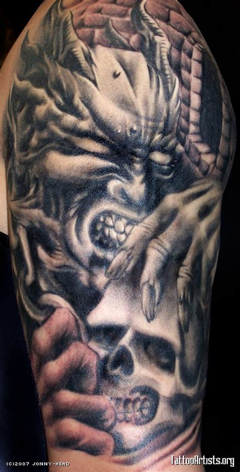 demon tattoo sleeve designs biomechanical skull design tattoos book