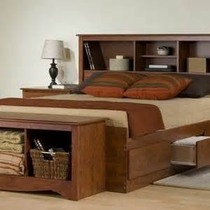 wooden bed frame with storage with modern bedroom