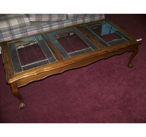 antique claw coffee table vintage oak glass top coffee table w claw