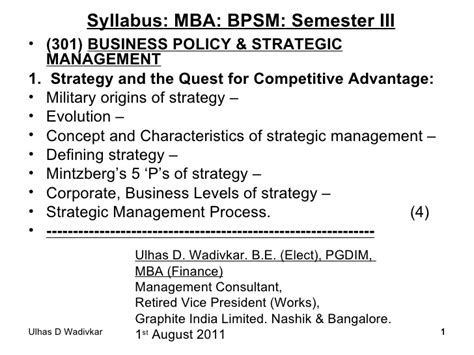 Business Strategy Syllabus For Mba by Business Policy Strategic Management Notes 2011 12