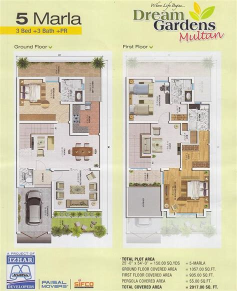 House Map Design 20 X 50 by 5 Marla House Layout Drawings In Dream Gardens Multan