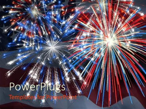 Powerpoint Template A Firework Display Being Impressed By The American Flag Along With The Flag Fireworks Powerpoint Animation