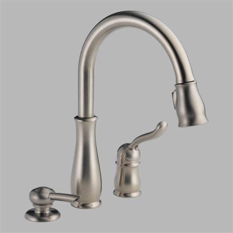 delta leland pull kitchen faucet delta faucet 978 sssd dst leland single handle pull kitchen faucet with soap dispenser